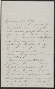 Sophia Hawthorne autograph letter signed to James Thomas Fields, [Concord], 8 February 1866