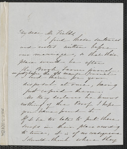 Sophia Hawthorne autograph letter signed to James Thomas Fields, [Concord], 24 February 1866