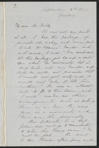 Sophia Hawthorne autograph letter signed to James Thomas Fields, [Concord], 4 September 1866