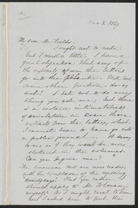 Sophia Hawthorne autograph letter signed to James Thomas Fields, [Concord], 3 November 1867