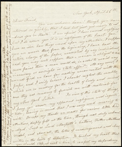Letter from Lydia Maria Child, New York, to Maria Weston Chapman, April 26th