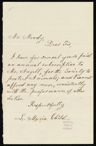 Letter from Lydia Maria Child, [Boston?], to Loring Moody, [ca. 1880?]