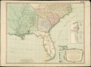 New and general map of the Southern dominions belonging to the United States of America, viz North Carolina, South Carolina, and Georgia: with the bordering Indian countries, and the Spanish possessions of Louisiana and Florida