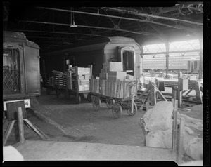 Train cars with loaded carts on platform