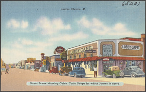 Juarez, Mexico, street scene showing cafes, curio shops for which Juarez is noted